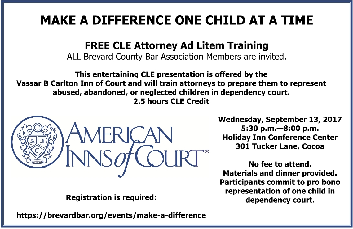 Advertisement for Attorney Ad Litem training by AIC