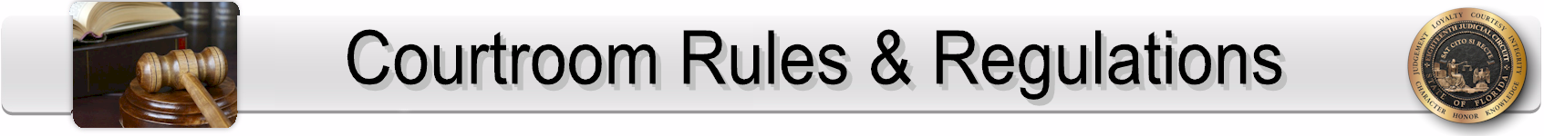 Courtroom Rules and Regulations Page Banner